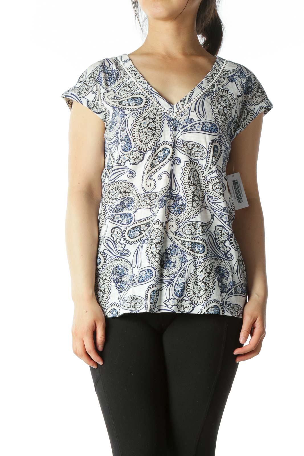 Blue/White/Black Paisleys-Print V-Neck T-Shirt