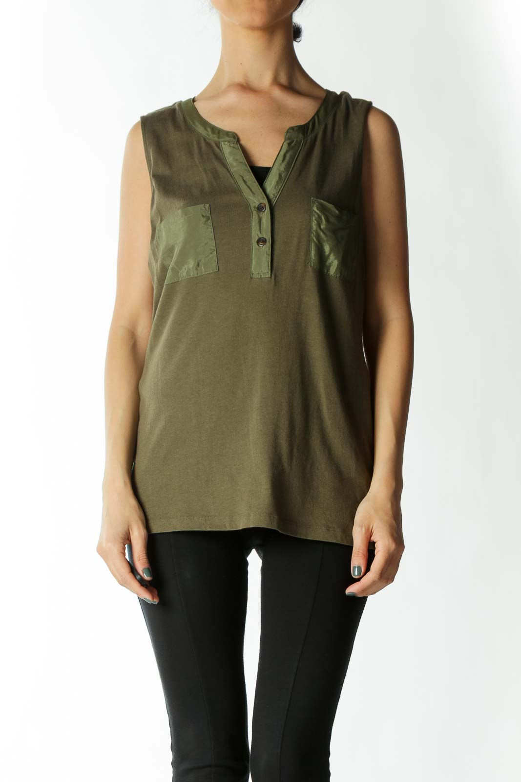 Olive Tank with Faux-Satin Breast Pockets and Piping