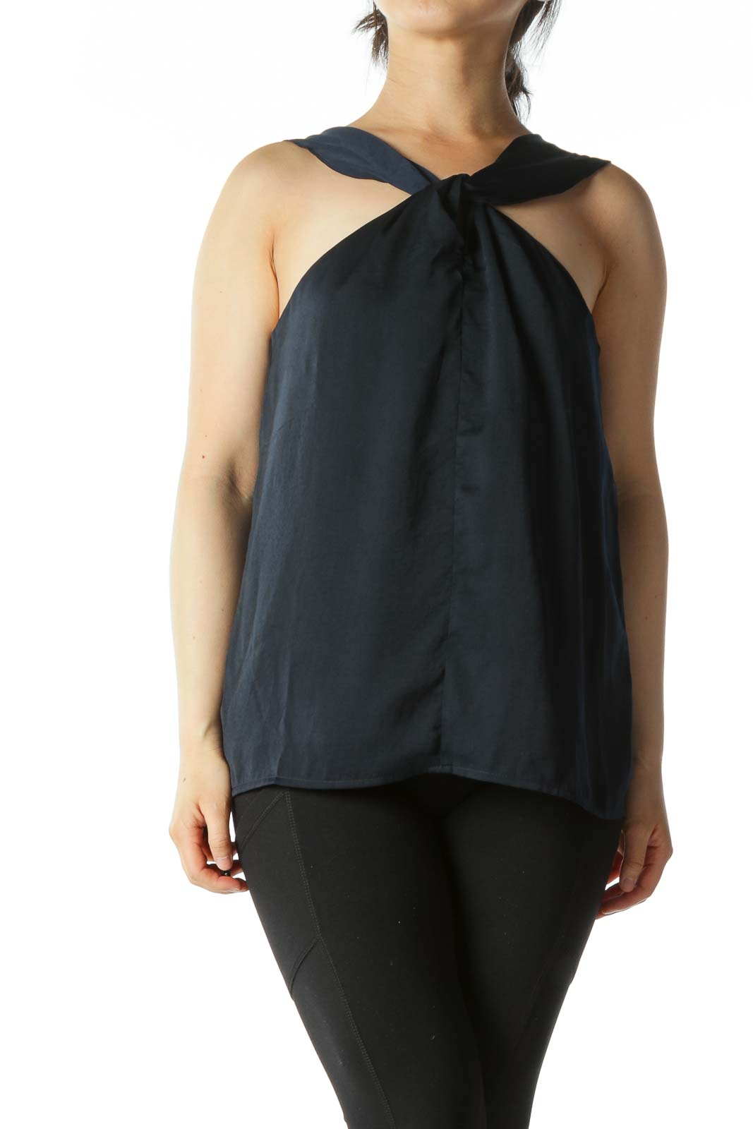Navy Cross-Front Keyhole Sleeveless Blouse