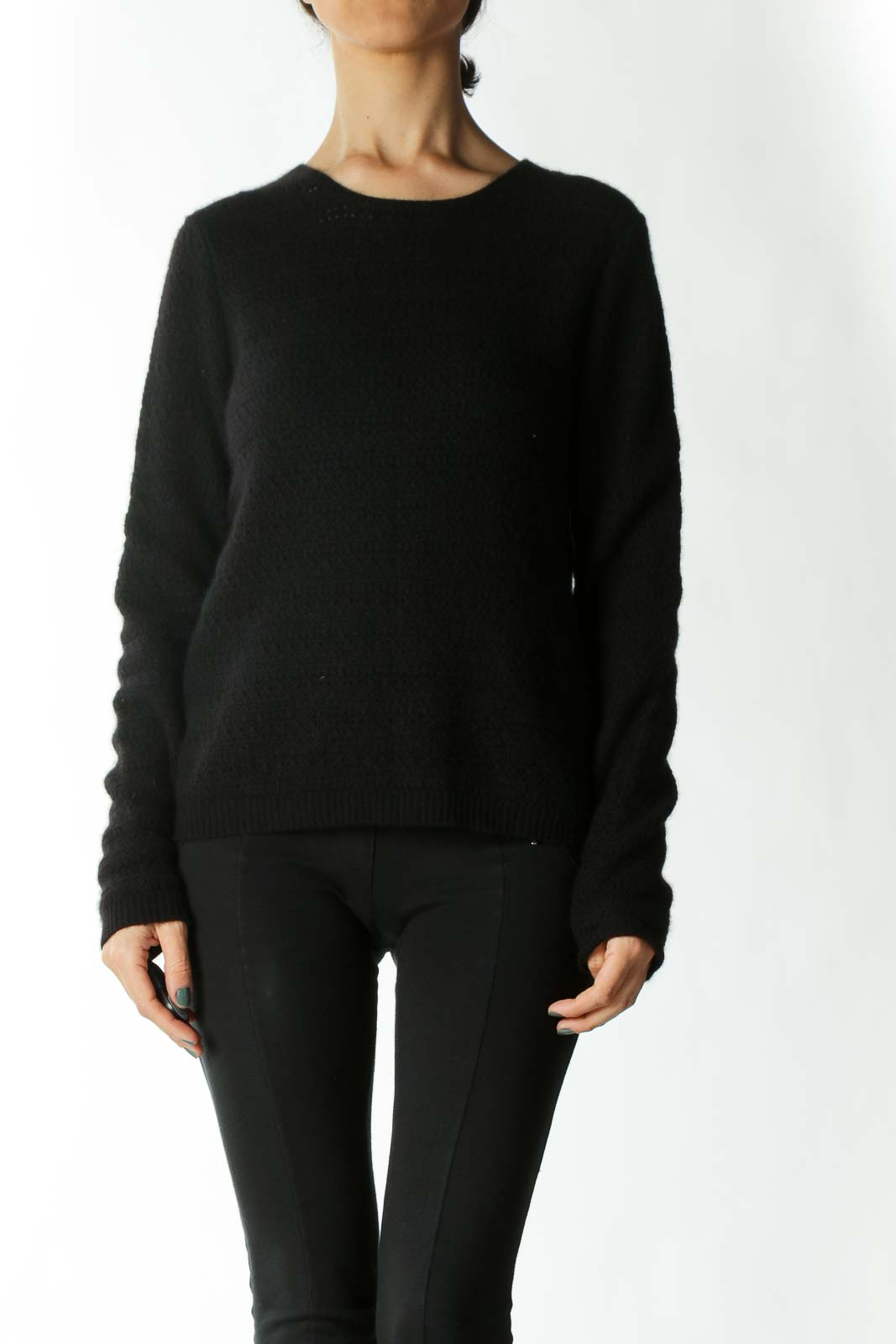 Black Cashmere Crocheted Sweater
