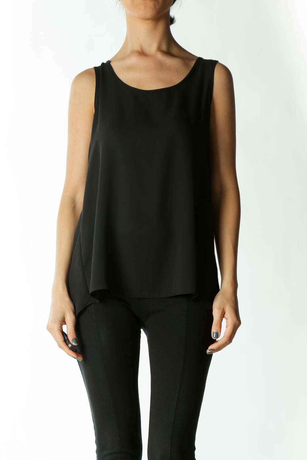 Black Translucent Open-Back Tank Blouse