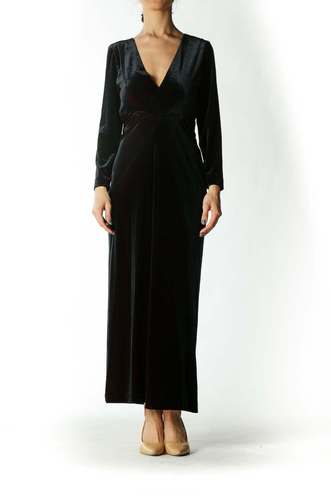 Black and Burgundy Evening Dress