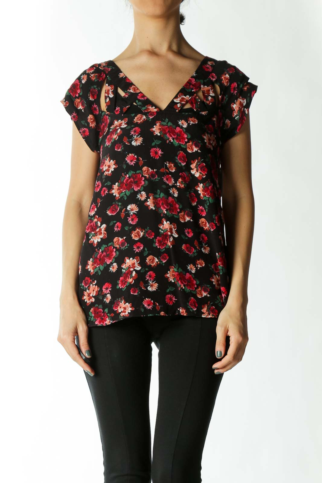 Black Red and Green Floral Cap-Sleeve Blouse with Cut-Out Collar Detailing