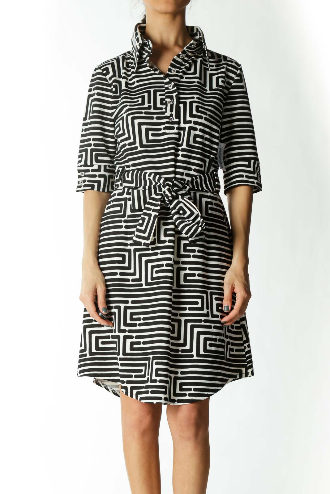 Black and White Striped Shirt Dress with Belt