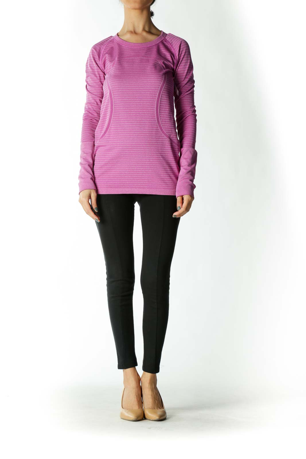Purple Long-Sleeve Fitted Yoga Top with Thumb Holes