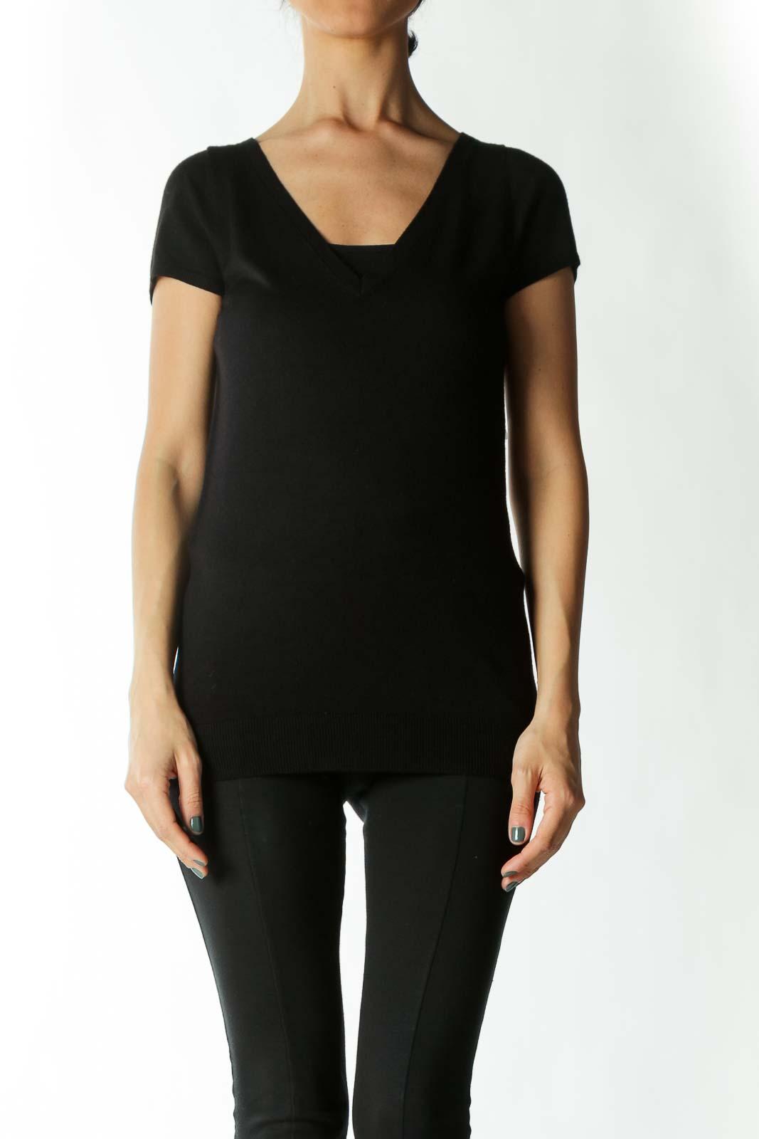Black Back-Zipper V-Neck Cap-Sleeve Knit