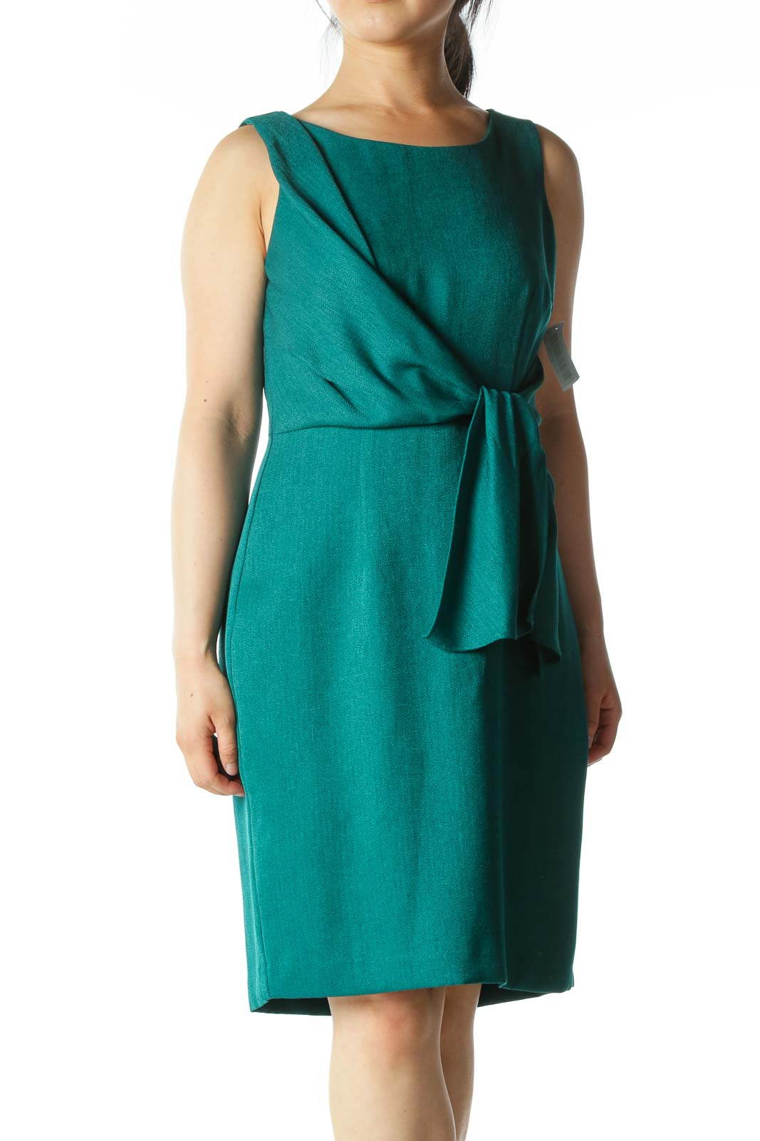 Emerald-Green Front-Tie A-Line Work Dress