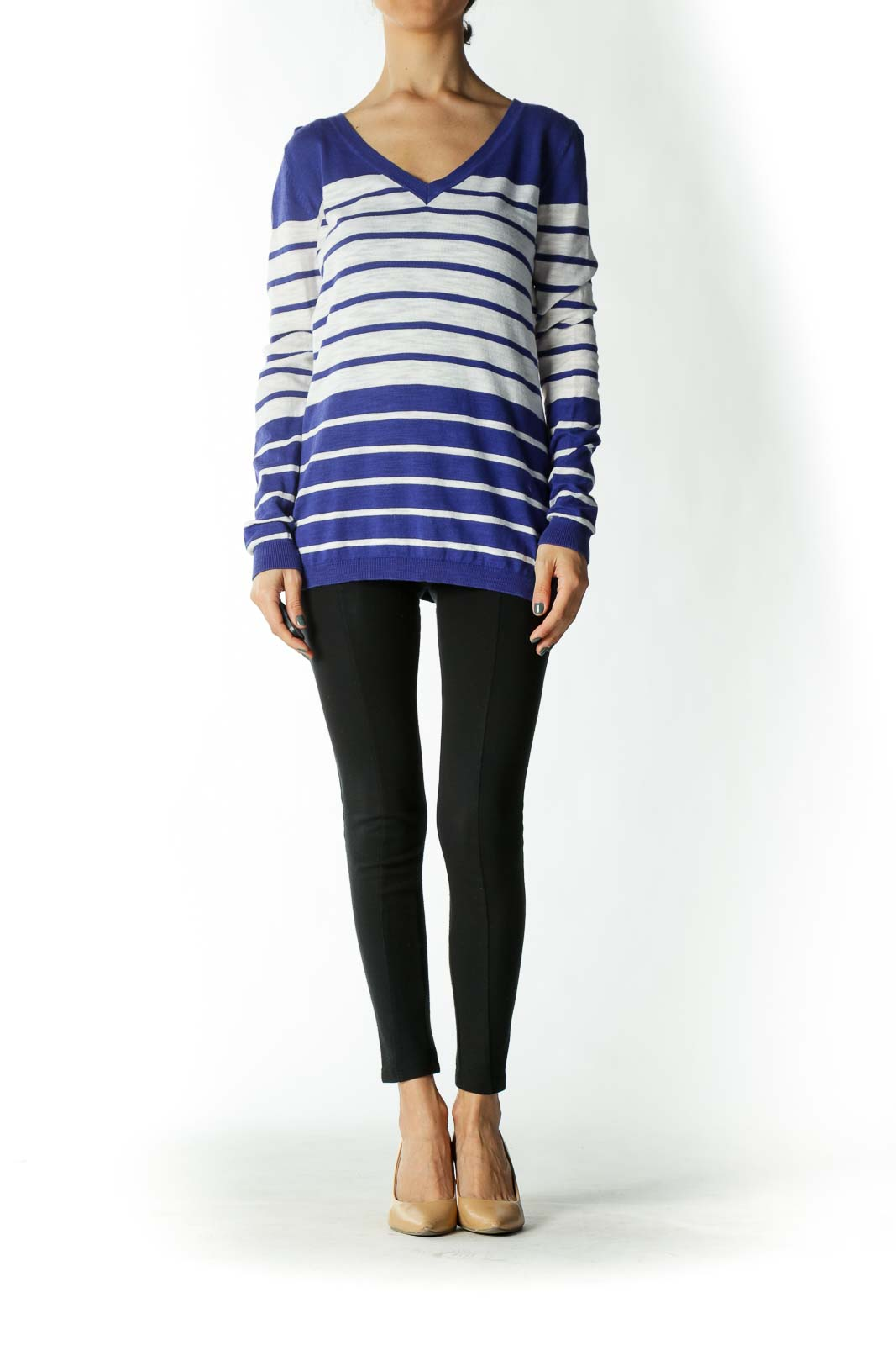 Blue and White Striped V-Neck Light-Weight Sweater