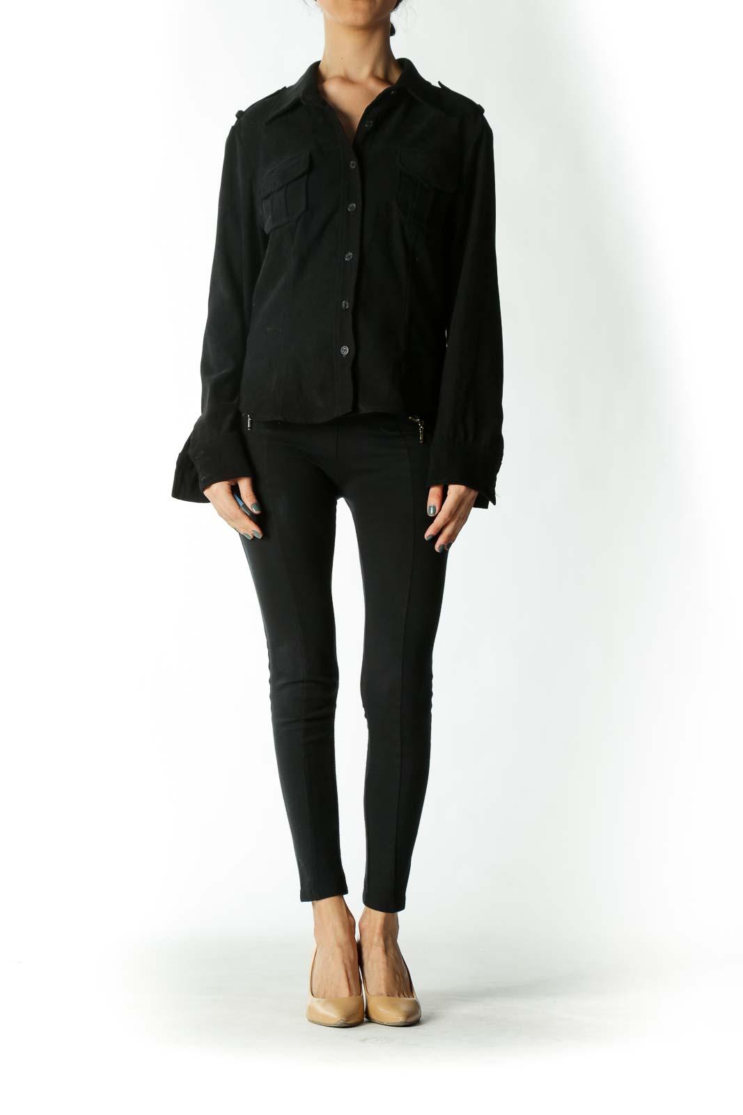 Black Epaulet Pocketed Button Down Shirt