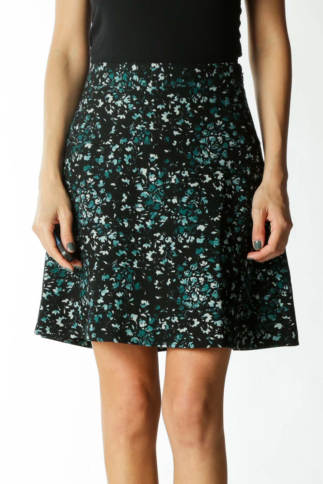 Black Small-Floral-Print Lined Flared Skirt
