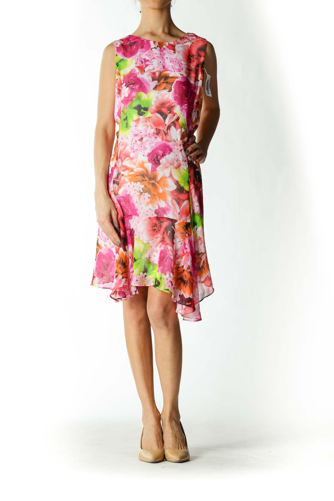 Pink and Orange Floral Print Day Dress