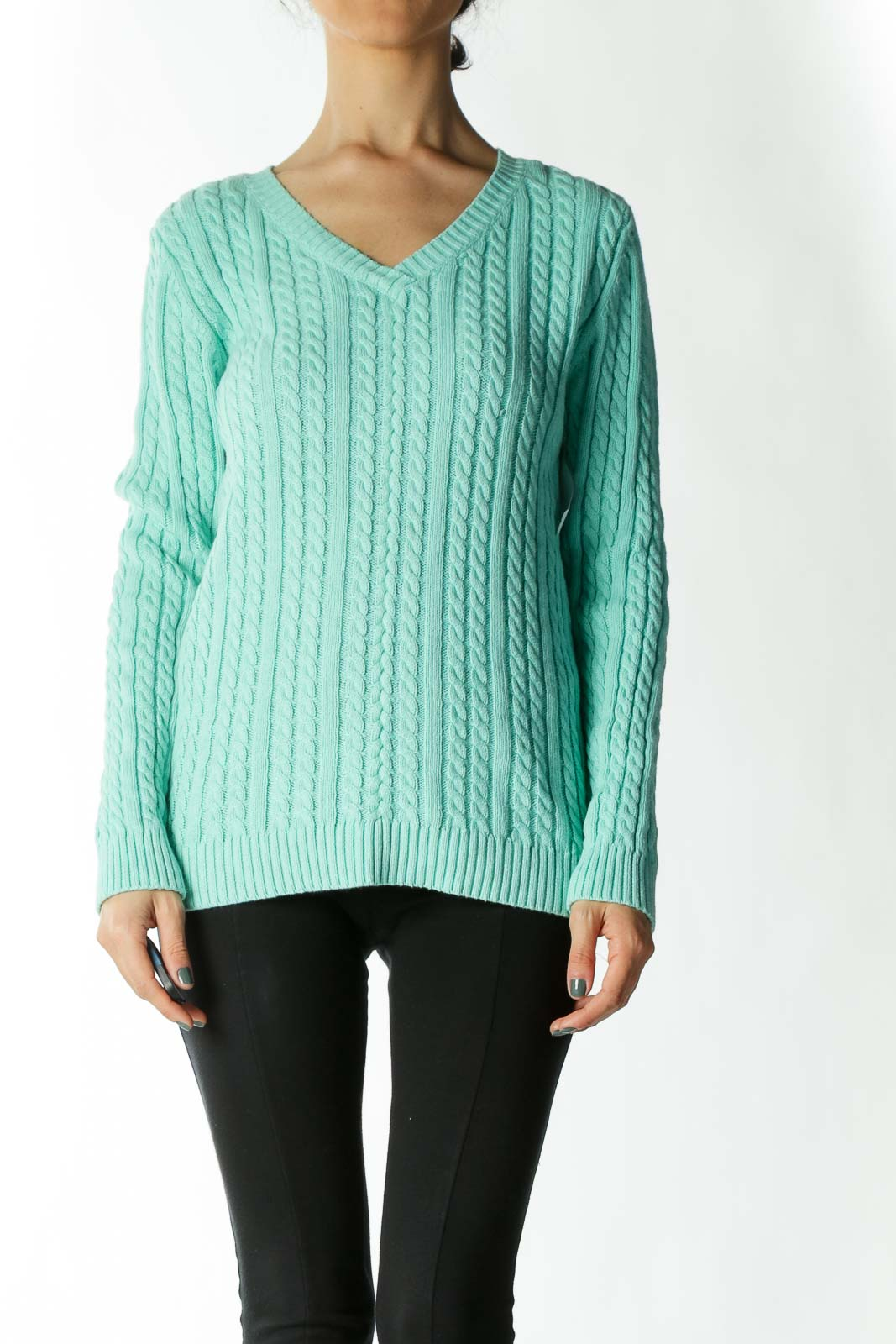 Mint Cable-Knit V-Neck Sweater