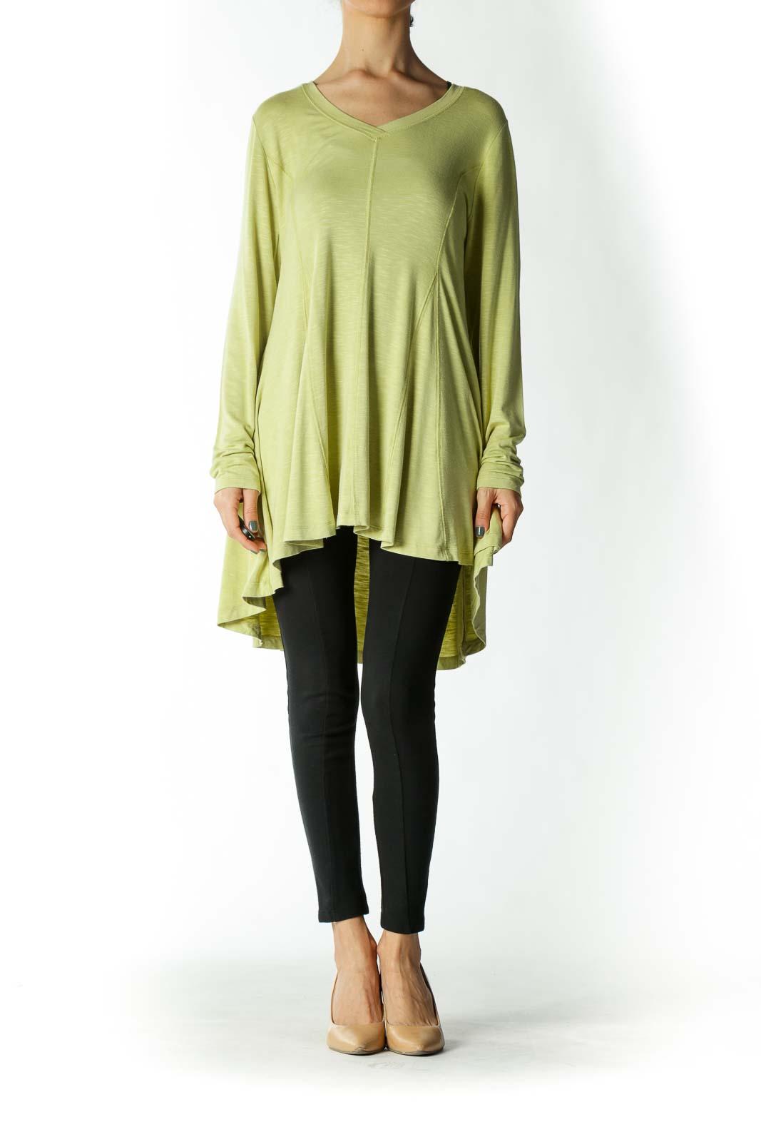 Light-Green Stretch Topstitching High-Low Tunic Top