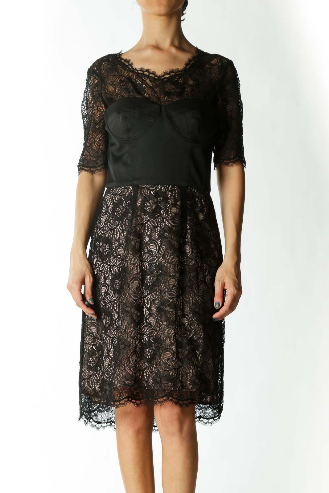 Black and Beige Dress with Corset and Lace Detail