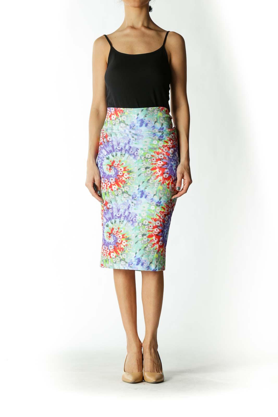Multicolor Floral Print Tube Skirt