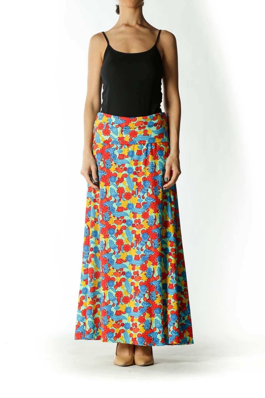Multicolored Mixed-Print Stretch Flared Maxi Skirt