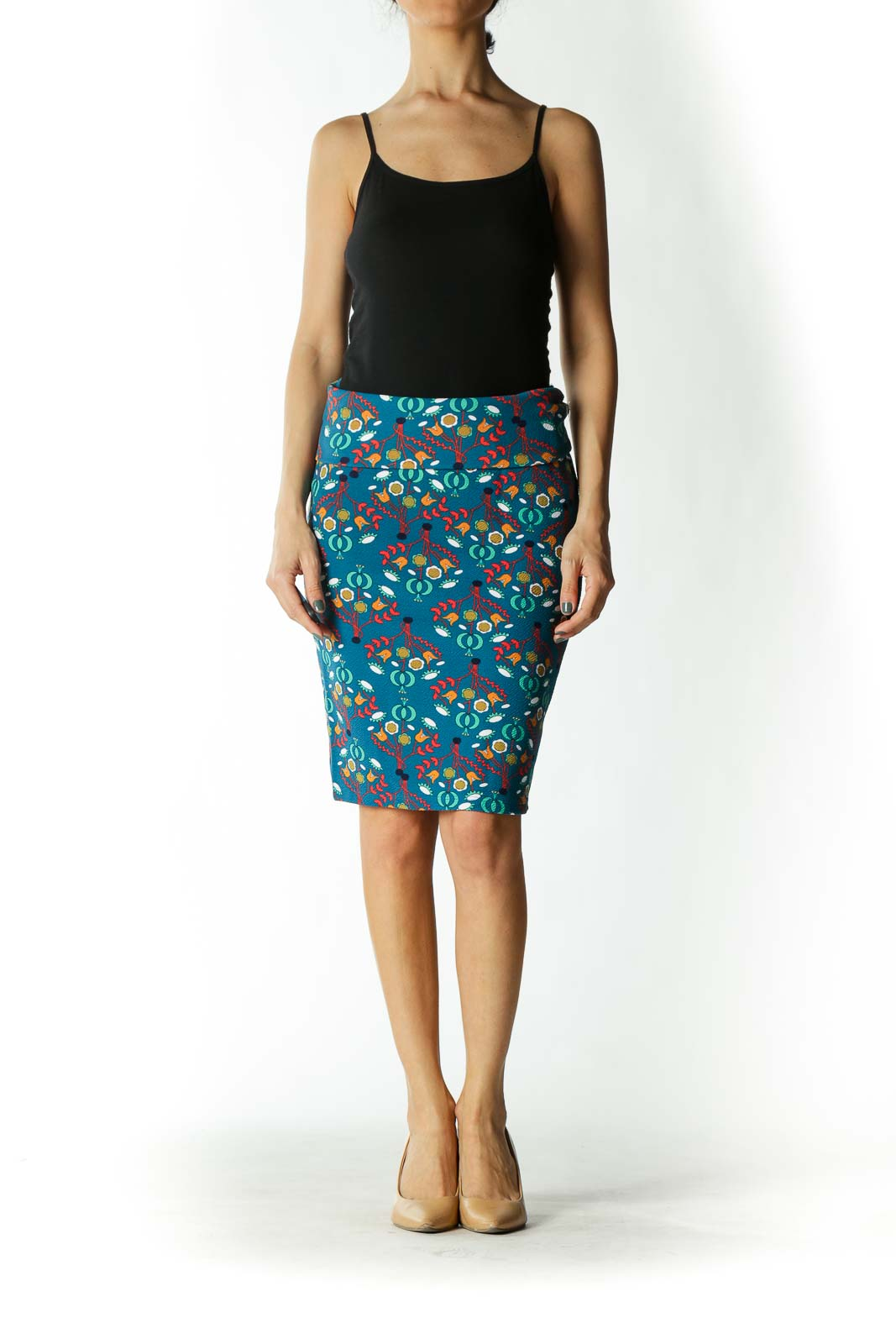 Blue Floral Print Tube Skirt
