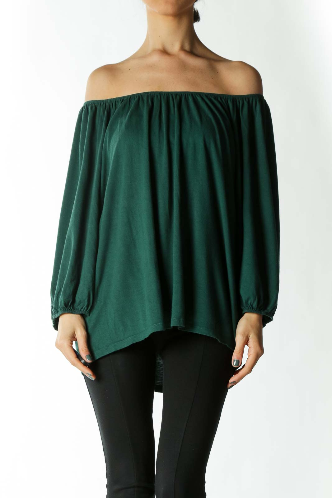 Forest Green Off-The-Shoulder Peasant Sleeve Knit Top