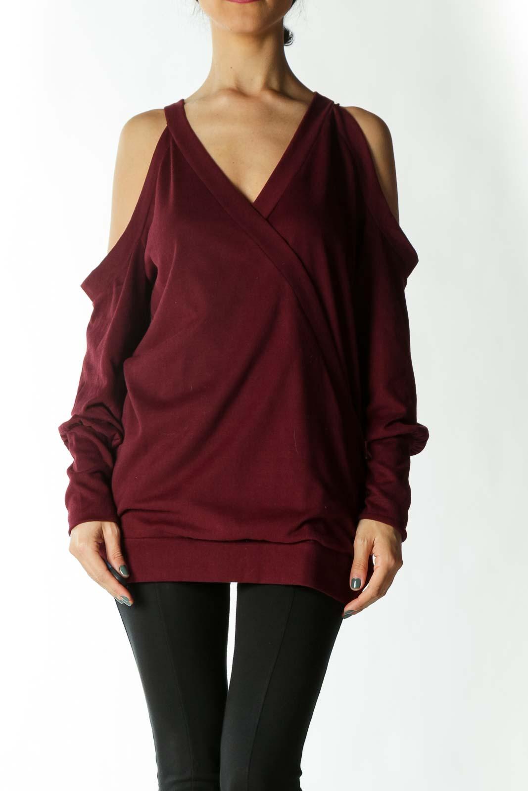 Burgundy Cross-Front Cold-Shoulder V-Neck Long-Sleeve Knit