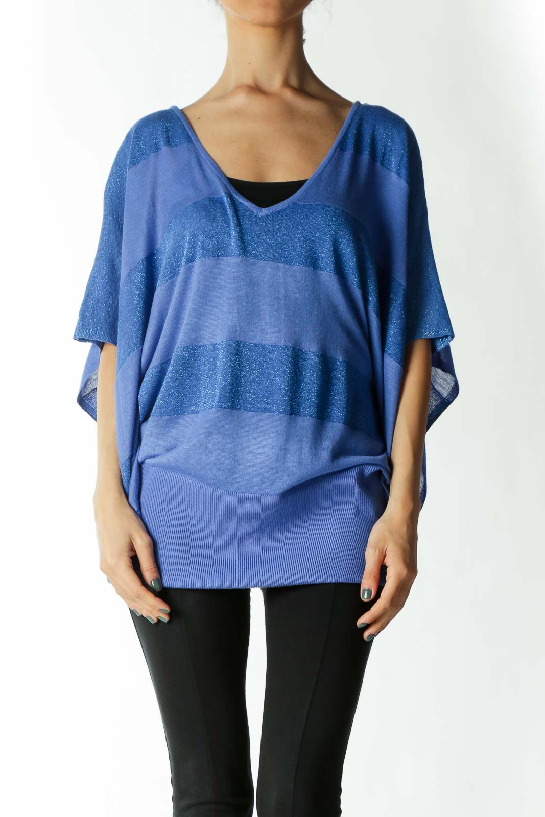 Blue Metallic Striped Shirt with Bat Sleeves