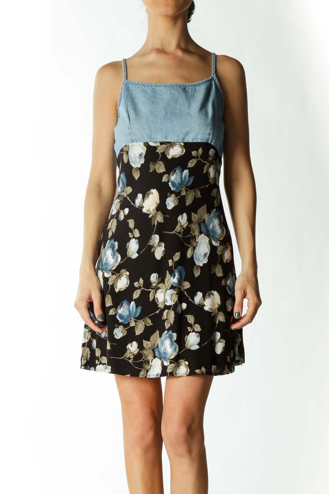Multicolored Denim Upper Floral-Print Flared Day Dress