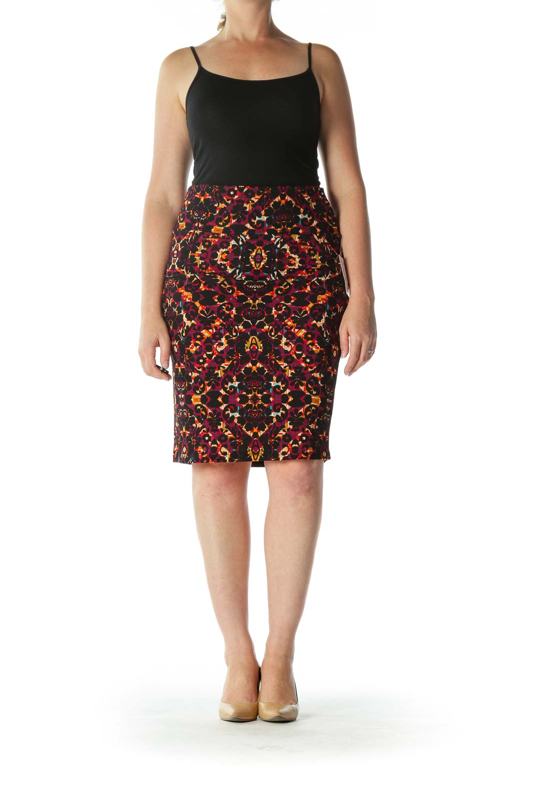 Multicolored Mixed-Print Stretch Pencil Skirt