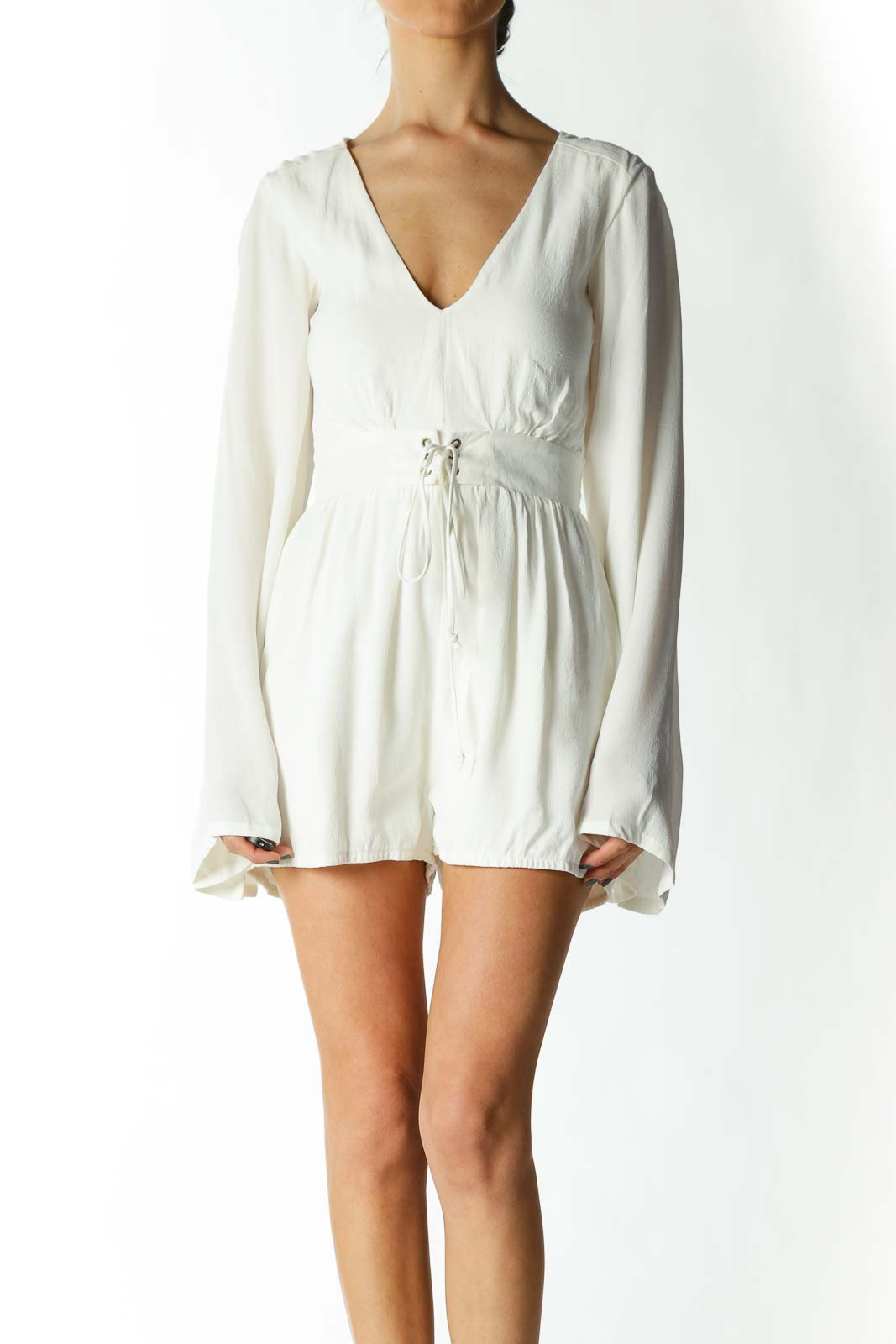 Cream Belted Bell-Sleeve Romper