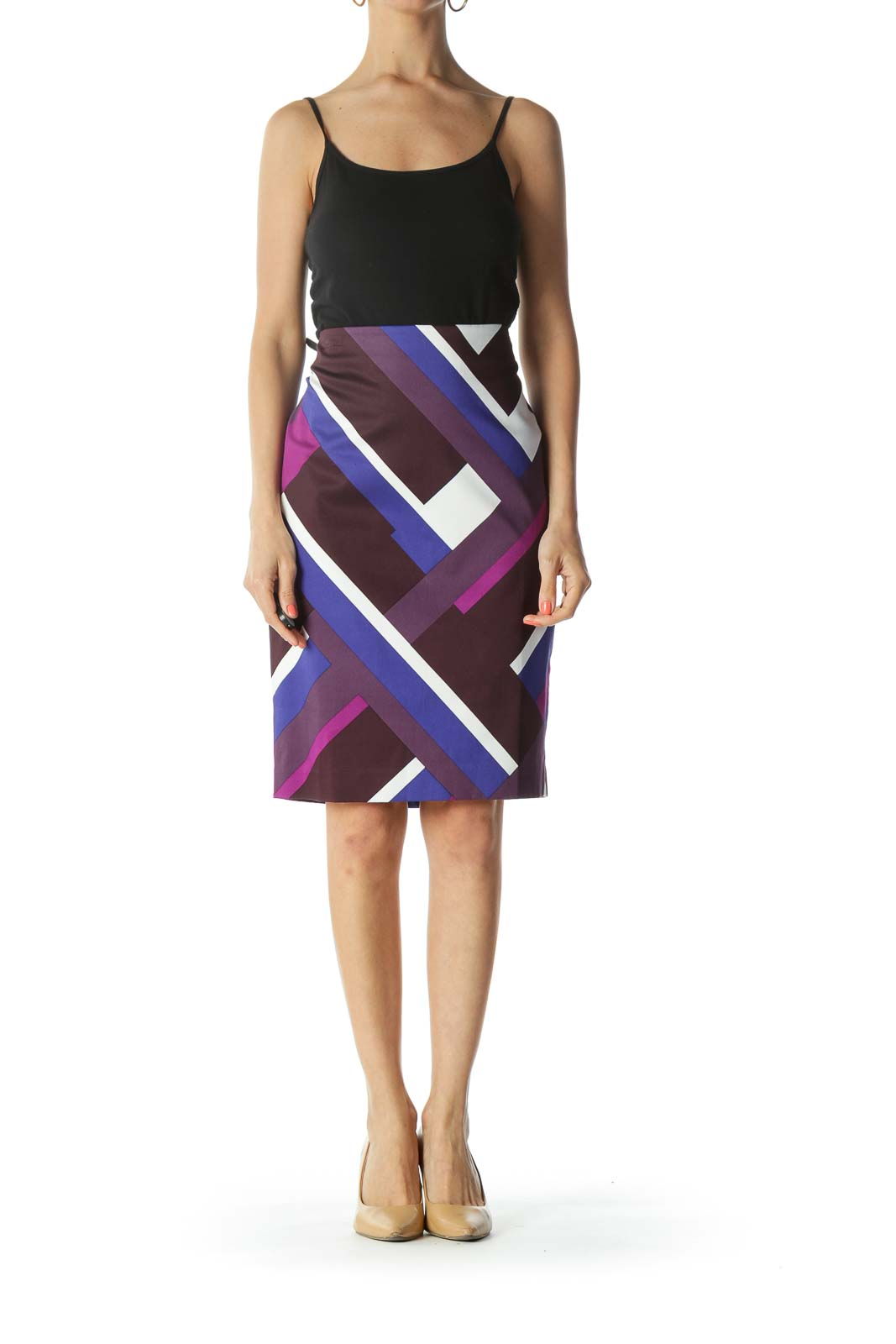 Purple, Blue, and White Geometric Print Skirt