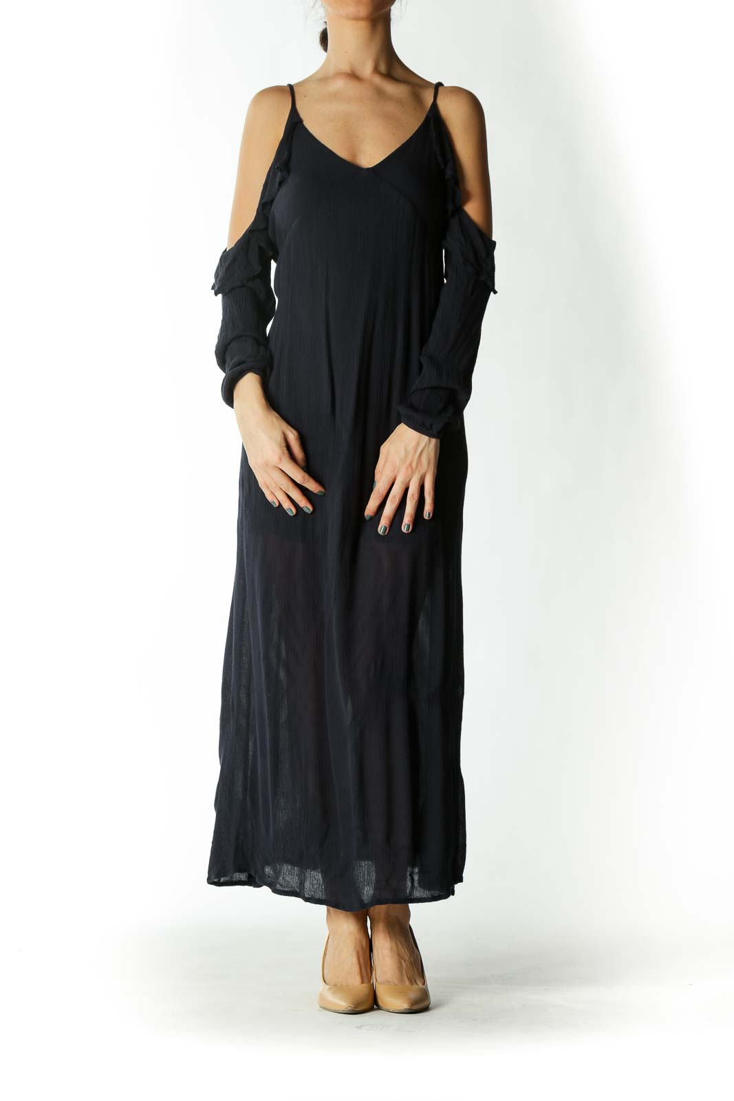 Navy Off-The-Shoulder Ruffle Neckline Maxi Dress