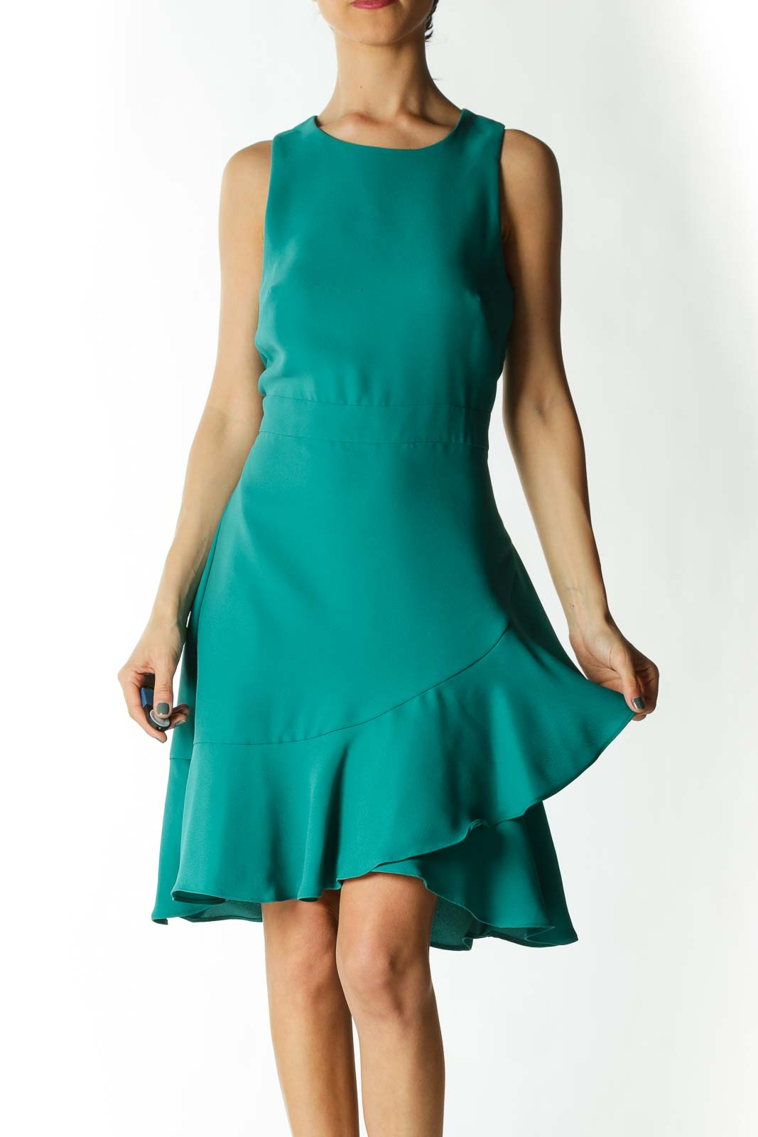 Emerald-Green Layered-Flare-Detail A-Line Work Dress