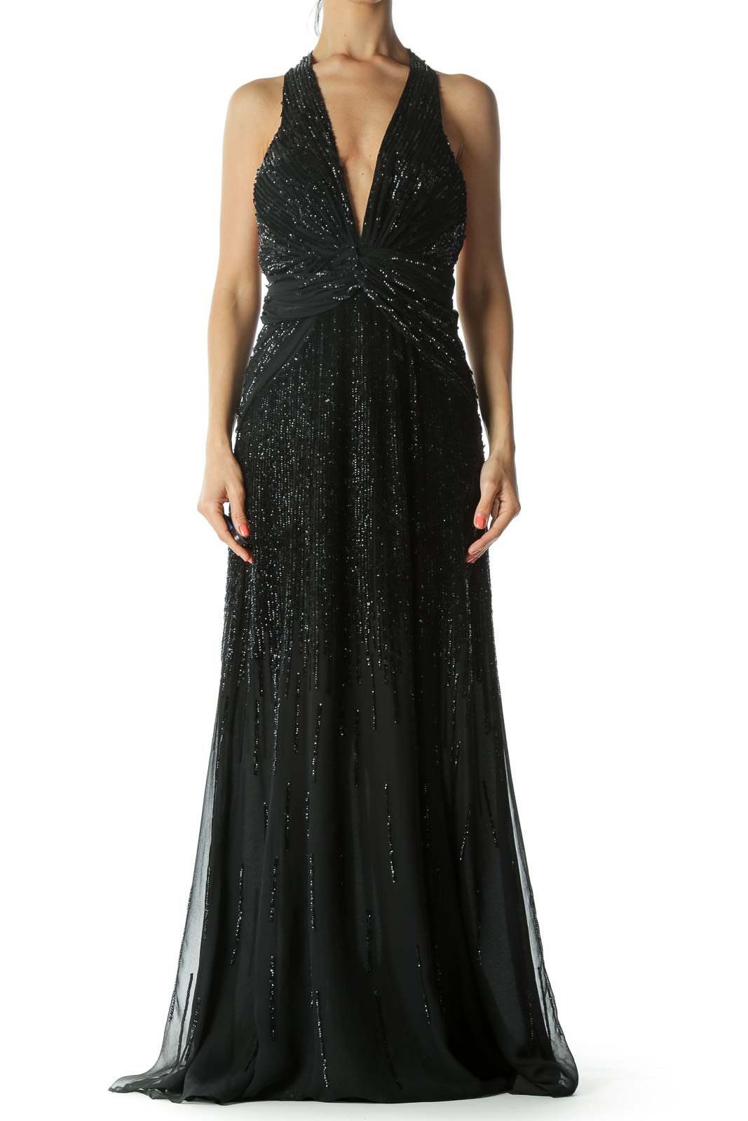 Black 100% Silk Sequined Halter-Neckline Front-Knot-Detail Evening Dress