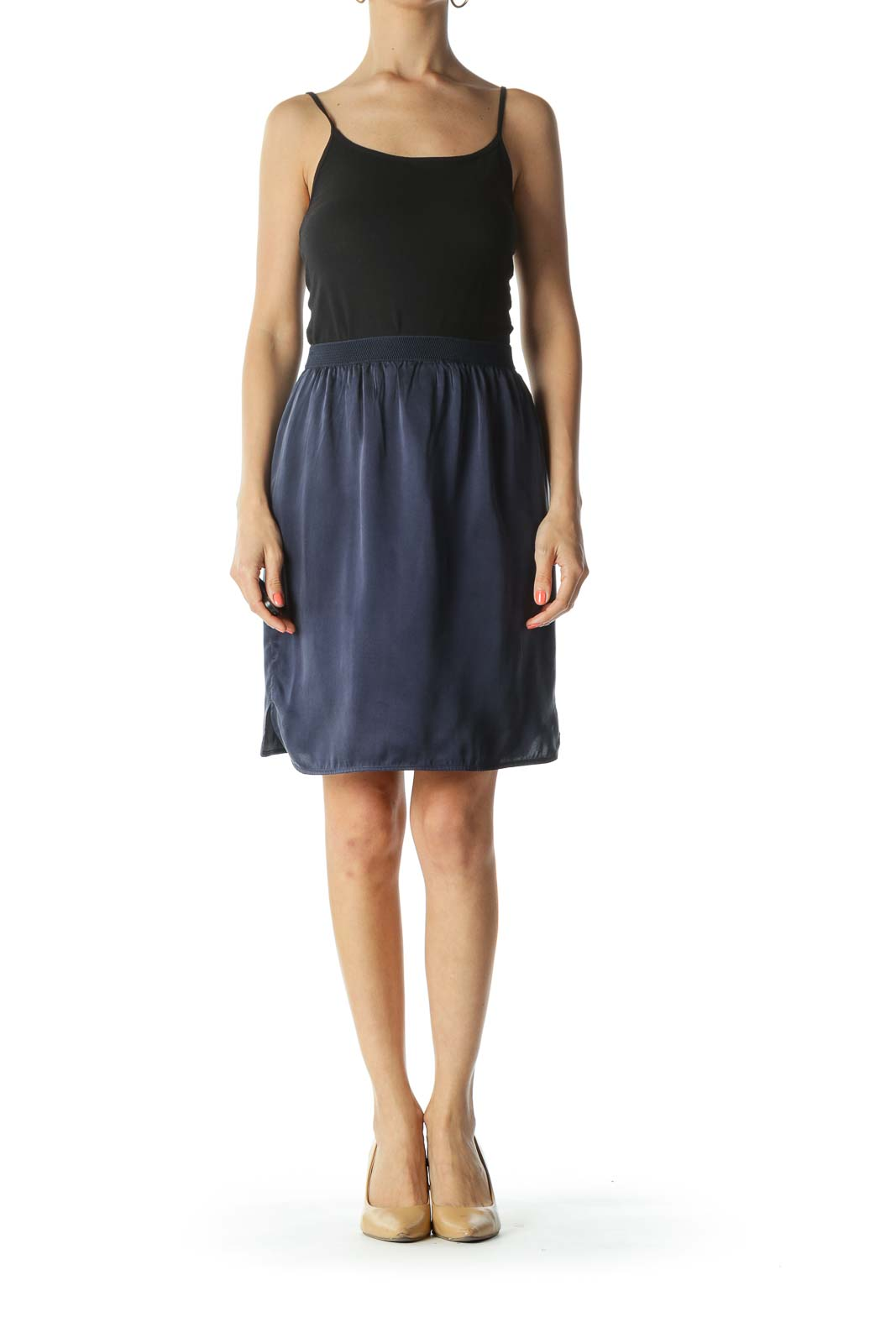 Navy-Blue Silk Textured-Elastic-Waist Lined Mini-Leg-Slit Skirt
