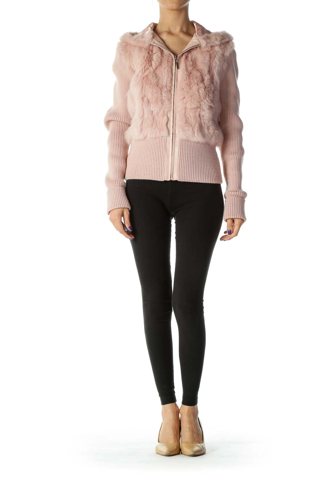 Light-Pink Dyed-Rabbit-Fur Hooded Fitted Jacket