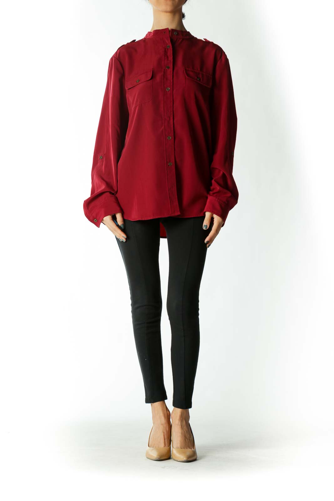 Burgundy Button Down Blouse With Shoulder Epaulettes