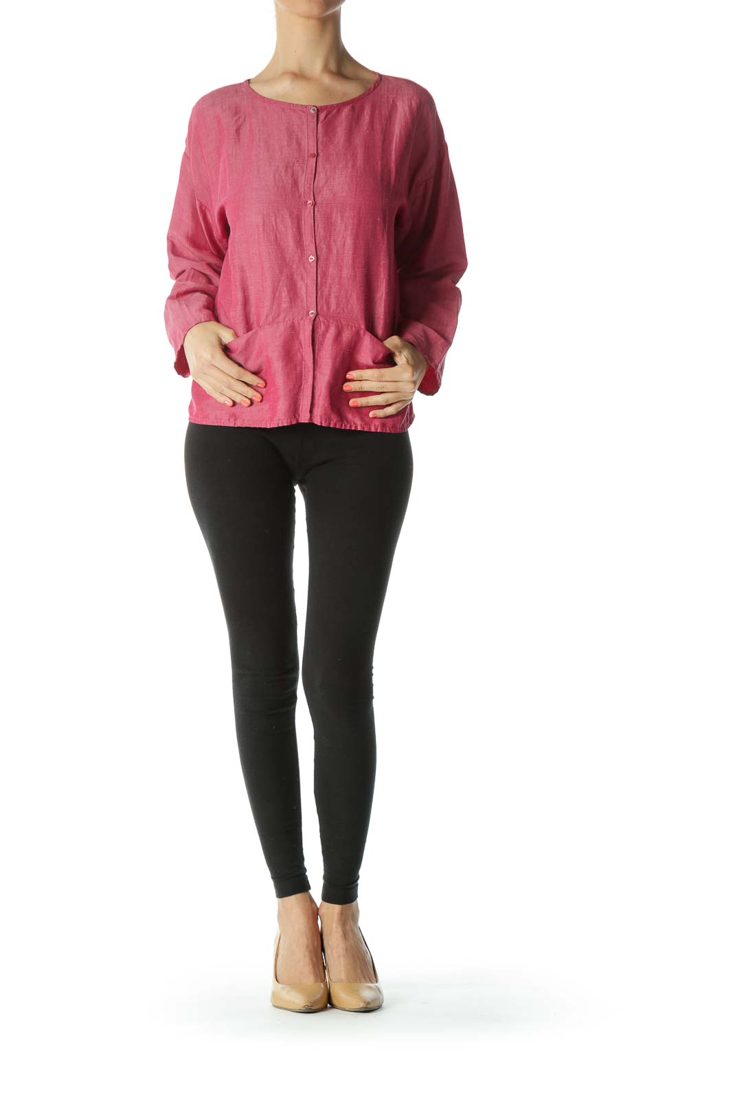 Pink Linen Silk Buttoned Light-Weight Pocketed Knit Top