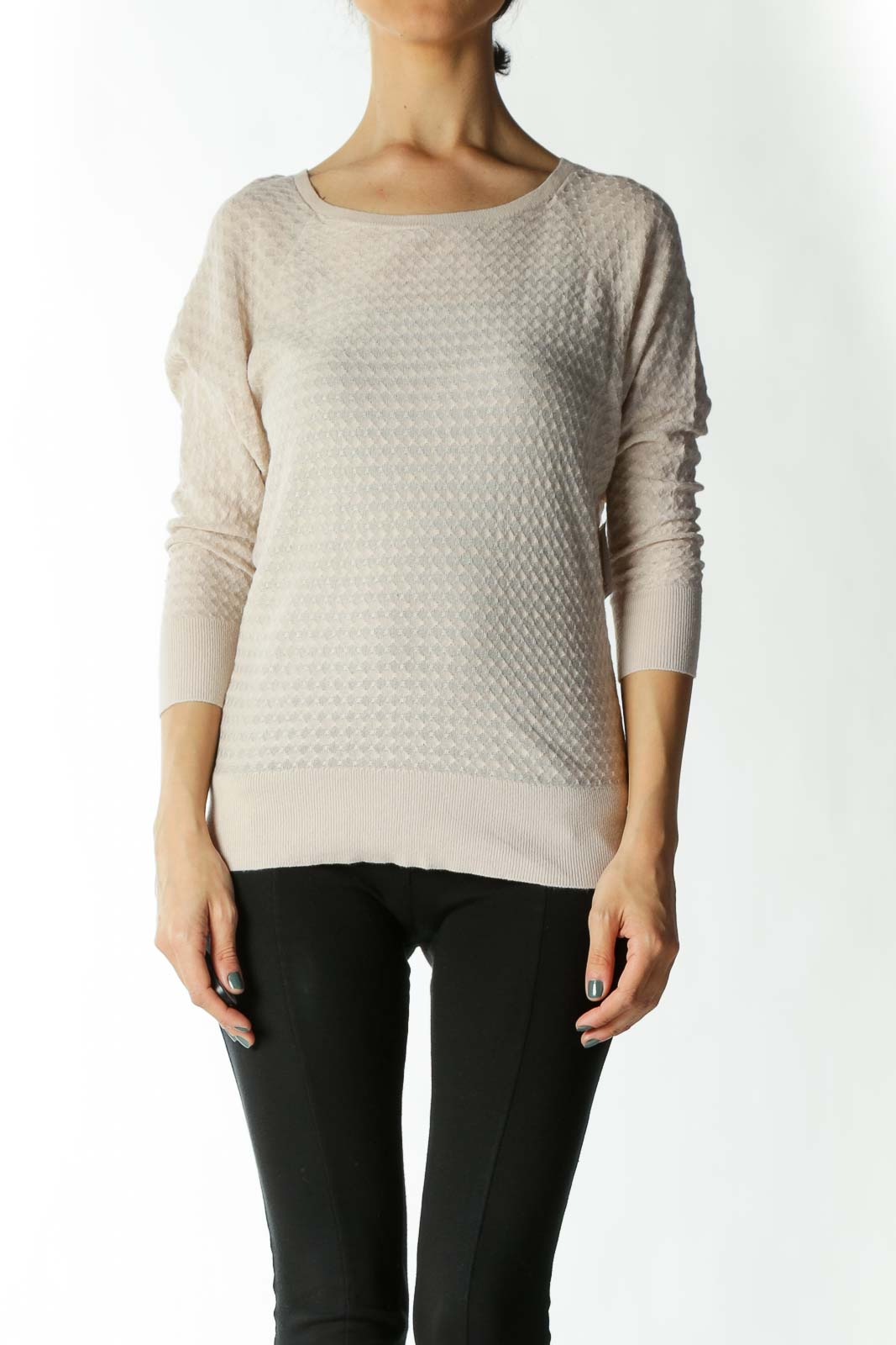 Beige Light-Weight Back-Buttoned Sweater with Taped Sleeves and Waist
