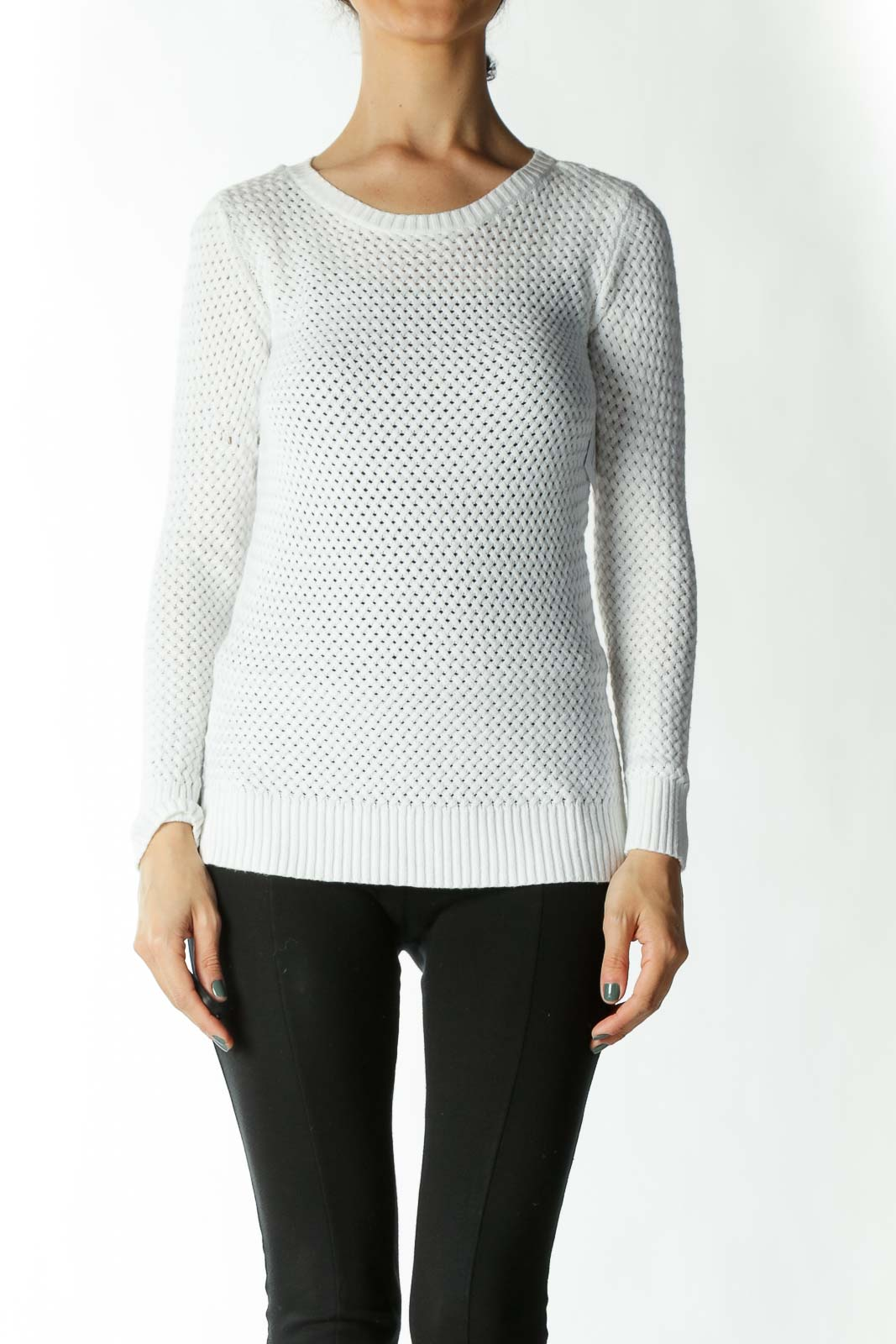 White Crocheted Knit-Back Light-Weight Sweater