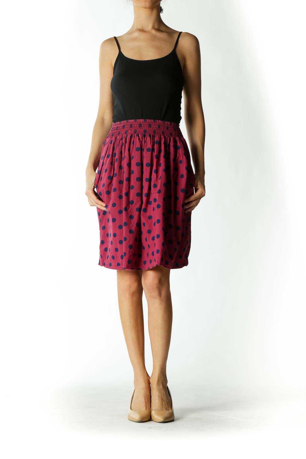 Burgundy/Navy-Blue 100% Cotton Pocketed Lined Skirt