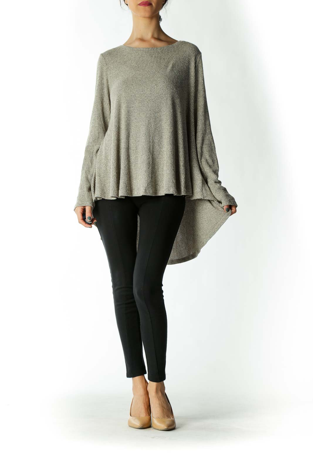 Beige Ribbed Long-Sleeve Flowy Knit Toplogn