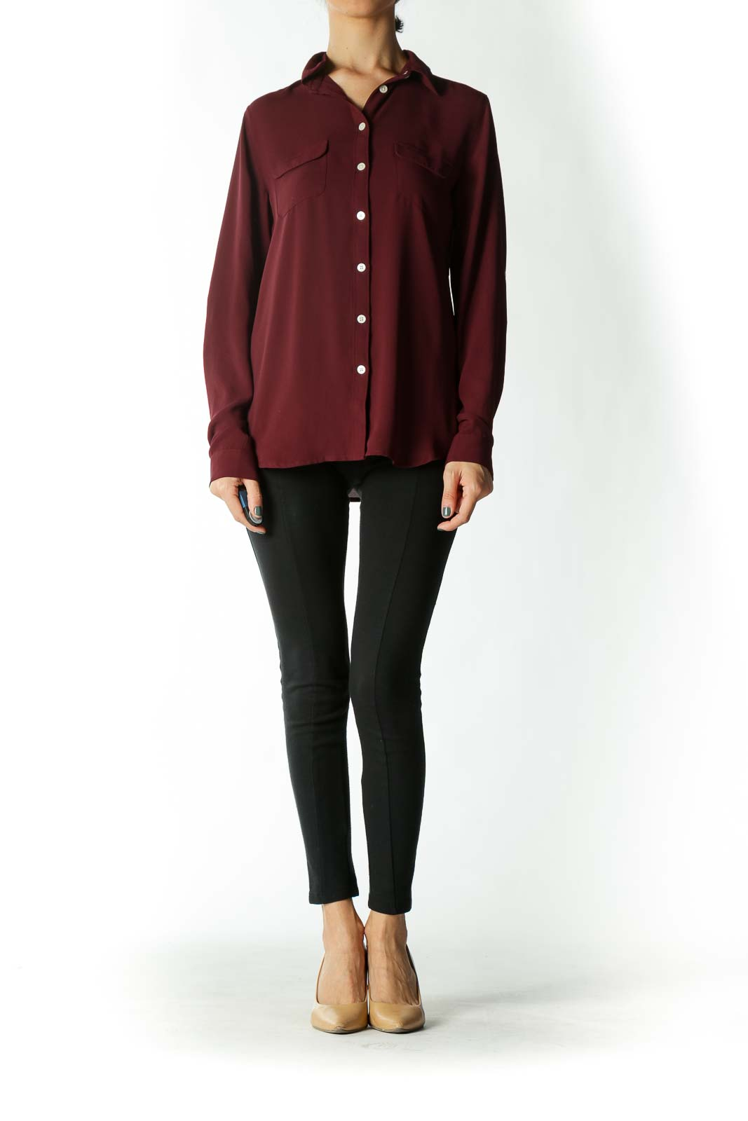 Burgundy Button-Down Blouse With White Buttons