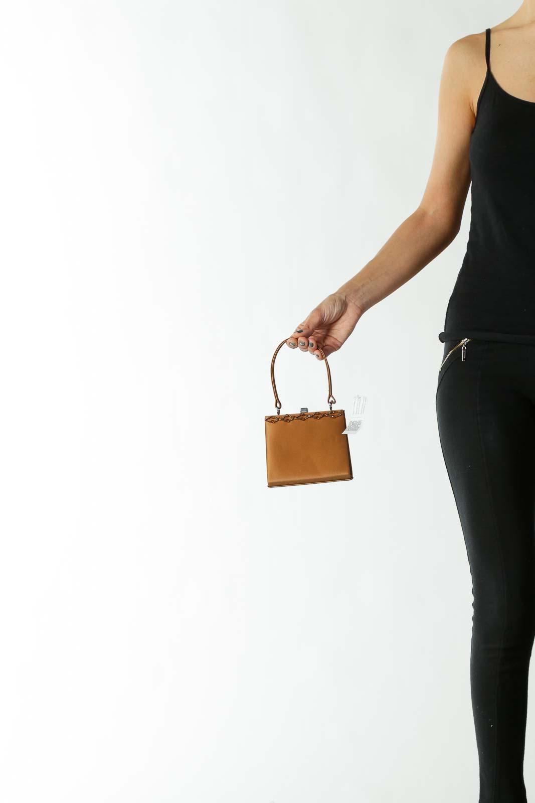 Brown Bejeweled Clip Hand bag Clutch