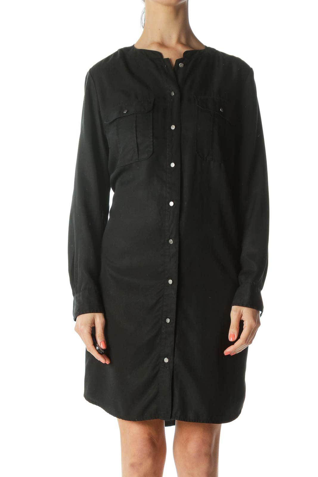 Black Button-Down Knee Length Shirt Dress