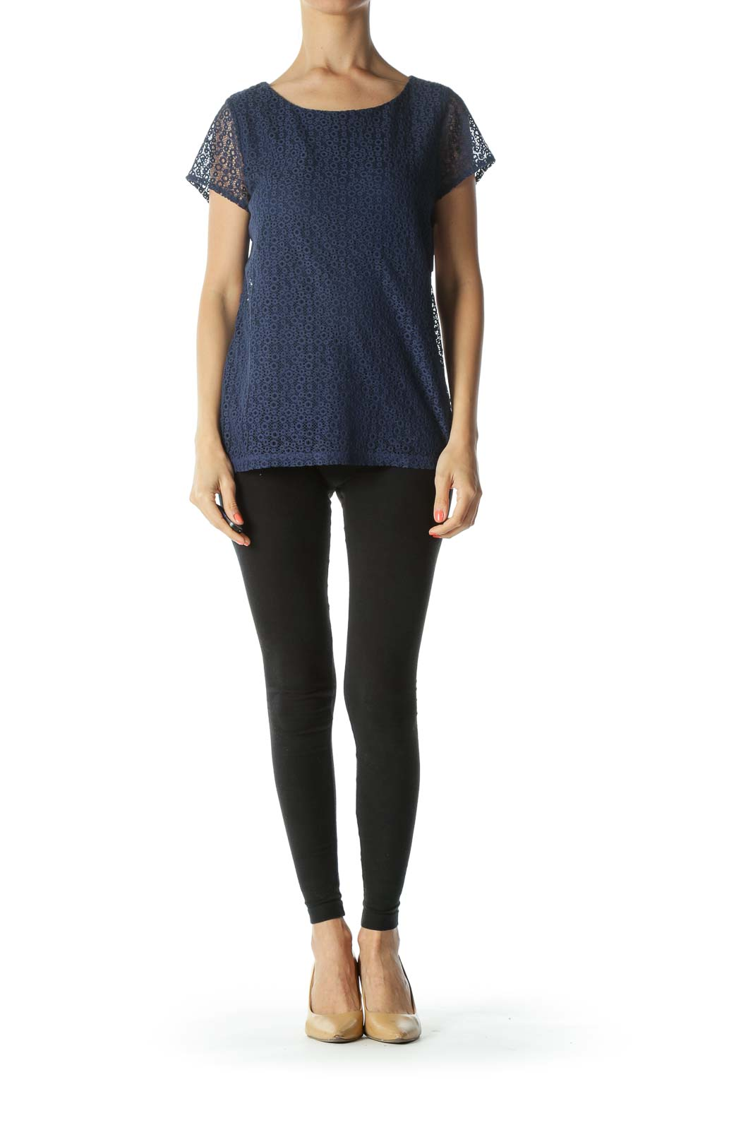 Blue Round-Neck Short-Sleeves Knit-Body Top