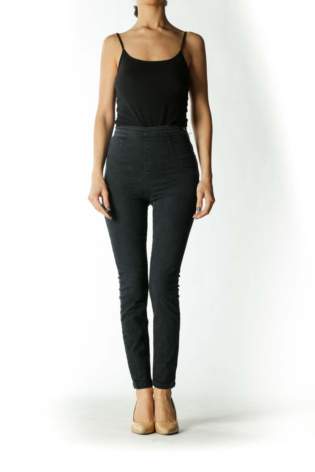 Charcoal Slip-On High-Rise Skinny Jeans