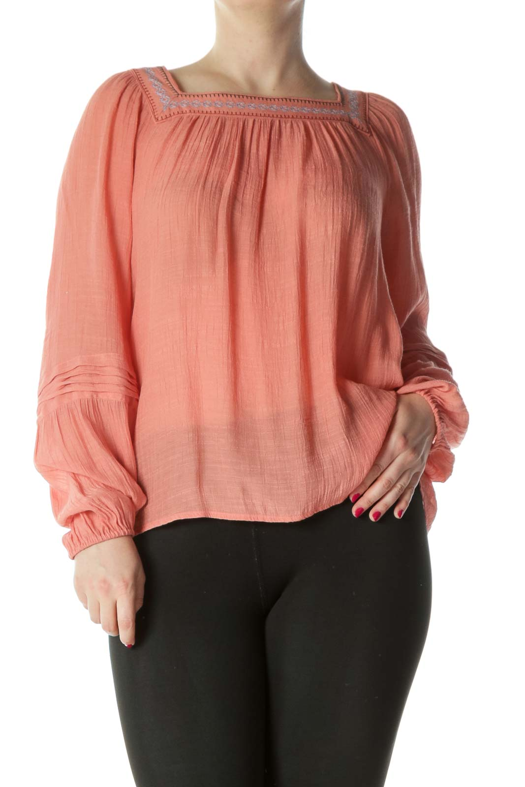 Peach/Green/Gray Embroidered-Neckline Flared Long-Sleeve Top