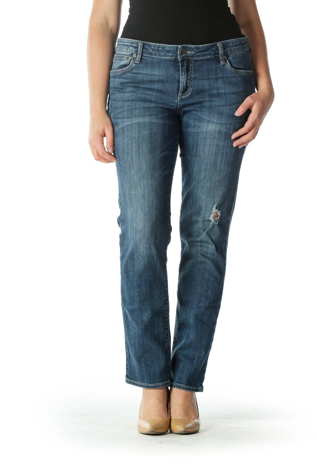 Blue Dark Wash Boyfriend Semi-Distressed Jeans