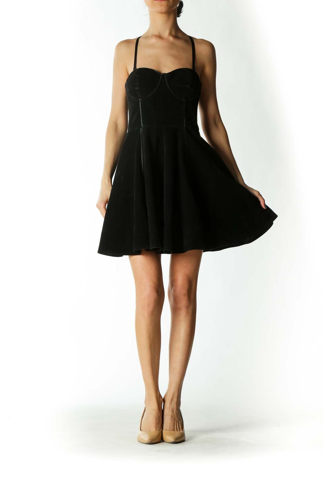 Black Faux-Suede Structured Skater Dress with Removable Straps