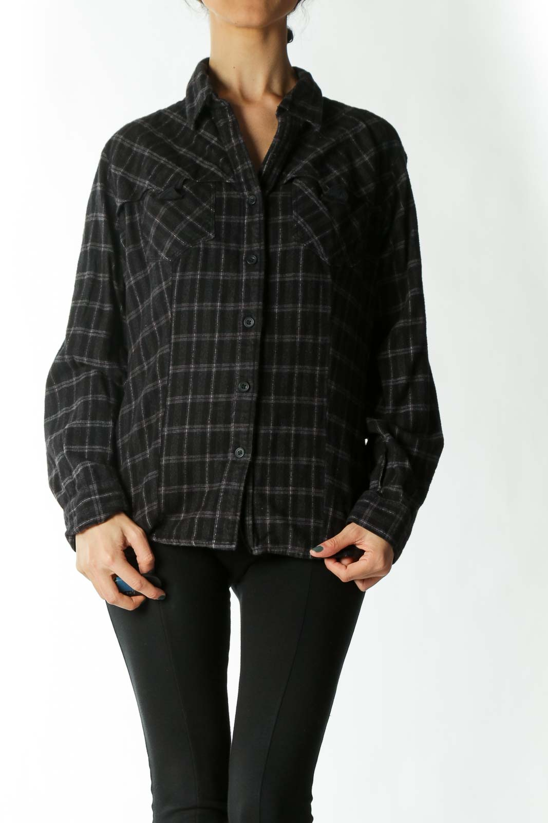Black and Grey Plaid Heavy-Wear Fitted Button-Down
