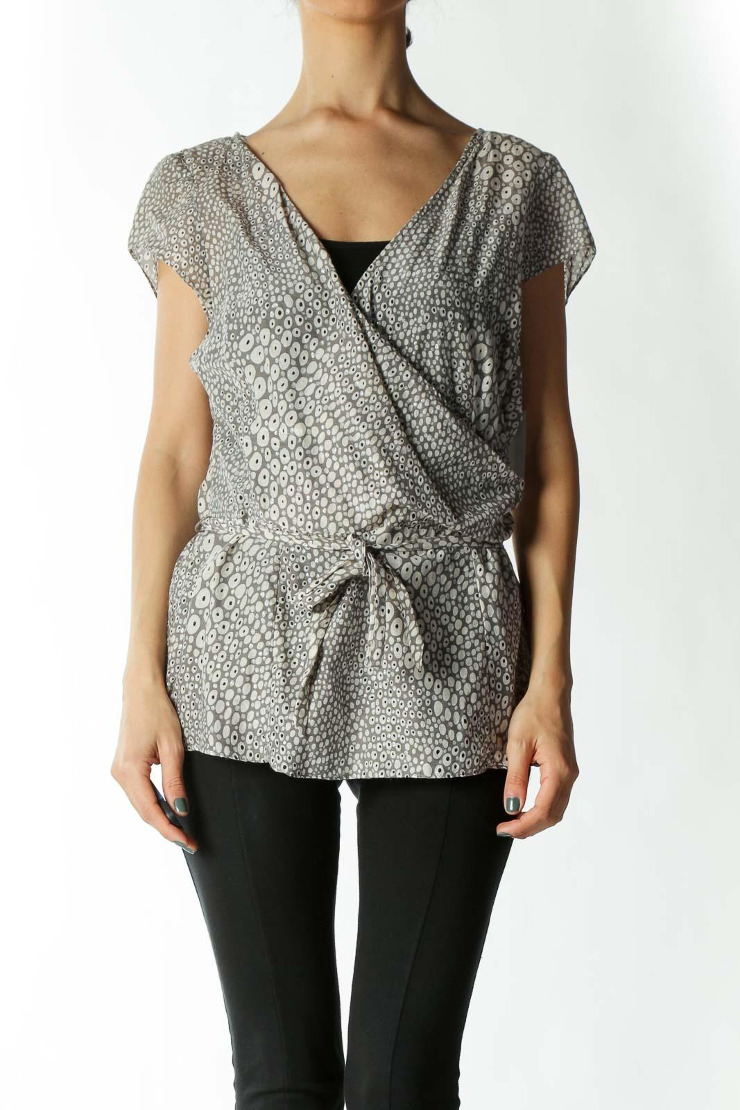 Grey and Silver V-Neck Waist-Tie Cap-Sleeve Peplum Blouse