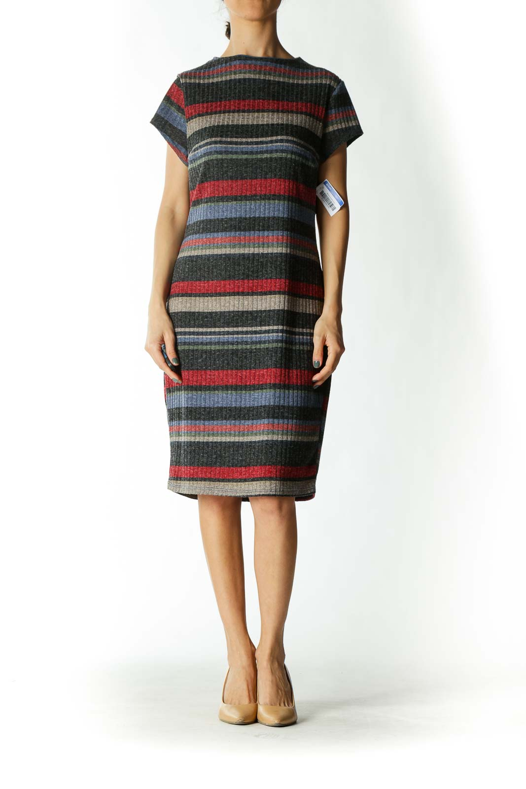Multicolored Striped Cap-Sleeve Ribbed Midi Dress